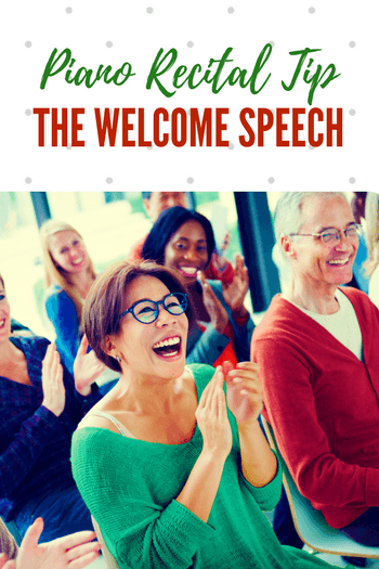 Check one more thing off of your recital list - welcome speech? Done! This template makes it easy (and effective!) Just copy/paste and use! #TeachPianoToday #PianoLessons #PianoTeaching