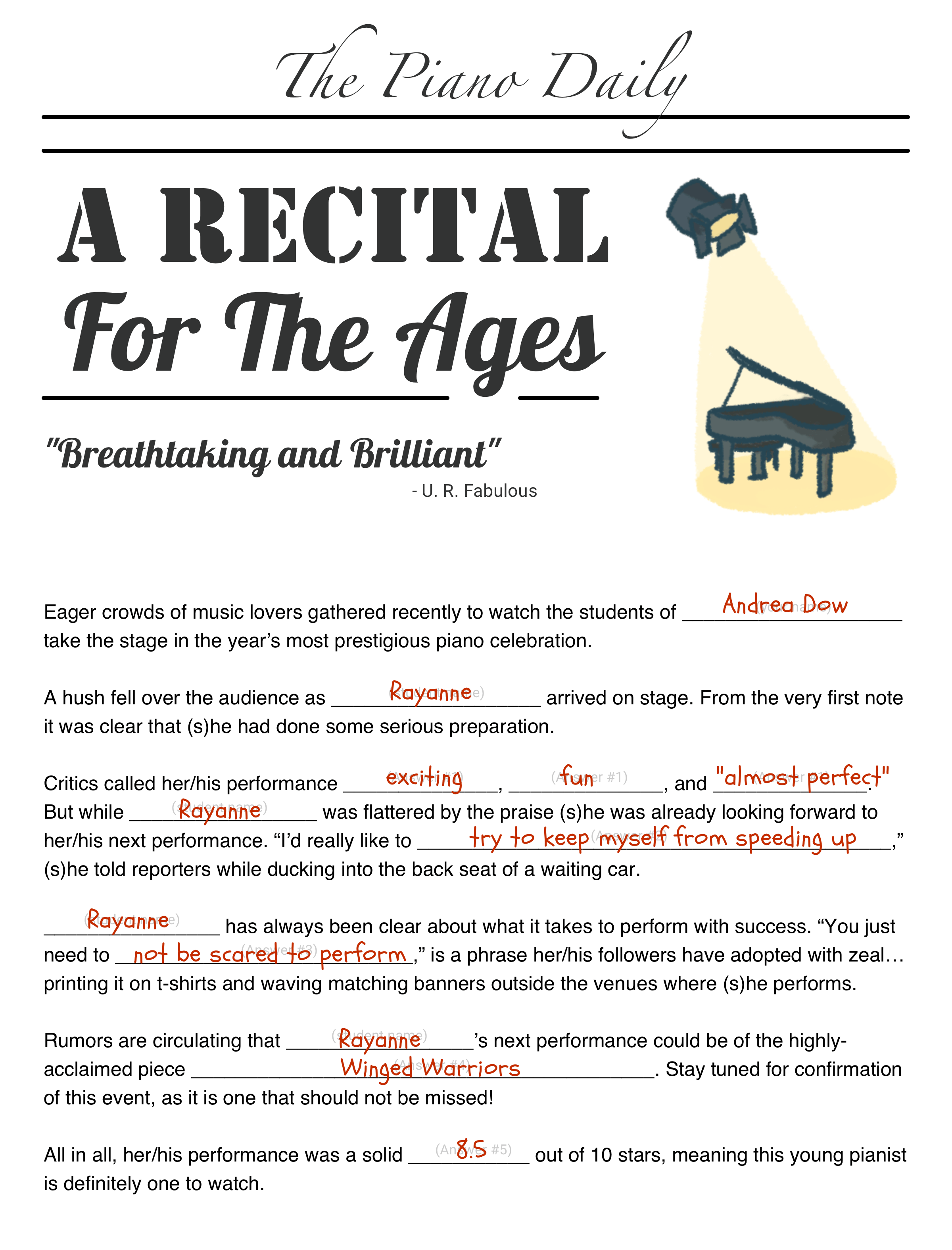 Recital Interview Mad Gab Example Teach Piano Today