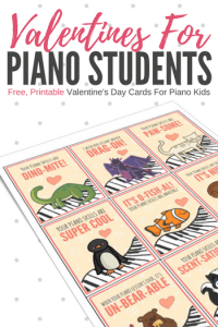Here are two sets of super-cute, piano-themed Valentines Day Cards that you can simply print out, attach to a small gift or treat and send home with your students.