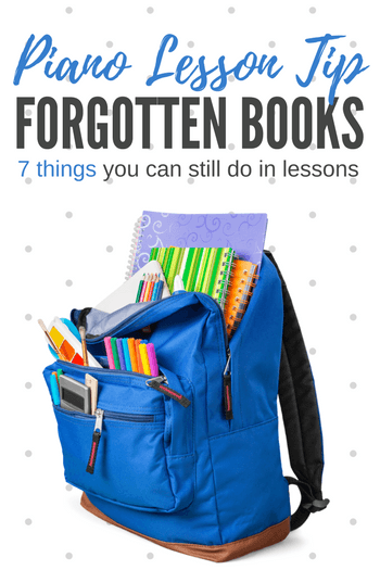 If your student forgot to bring his books to his lesson (it happens!) you can still have a productive time together! Here's 7 lesson activities... #TeachPianoToday #PianoLessons #PianoTeaching #PianoStudent