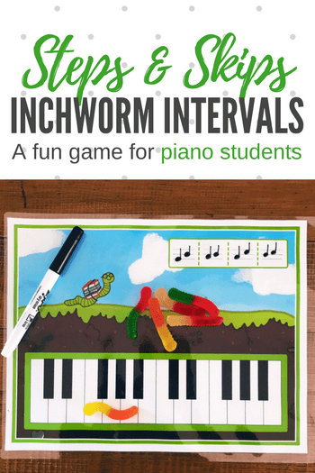 If your young piano students are great at note crunching but not so great at intervallic reading then this inchworm activity will help them reinforce this essential skill.