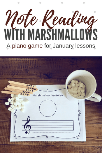 With this printable and some mini marshmallows you can zero-in on your piano students' note reading needs while having a blast. #TeachPianoToday #PianoLessons #PianoTeaching #PianoGame