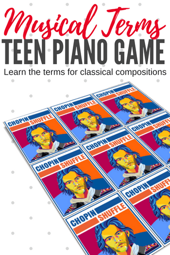 Free Teen Piano Game: The Chopin Shuffle reinforces your student's understanding of common classical music compositions like ballades, nocturnes, preludes, etudes, waltzs and more. #TeachPianoToday #PianoLessons #PianoTeaching #PianoGame