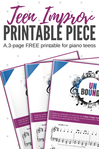 Last minute planning? We've got you covered with this printable teen improv (you can literally print and use... no prep required!) #TeenPiano #PianoLessons #PianoPrintable #TeachPianoToday #PianoFreebie