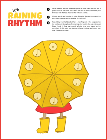 It's Raining Note Values With This Printable Dice Game For