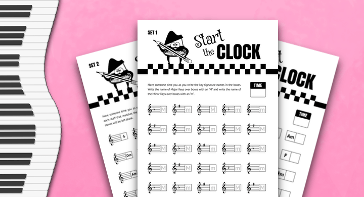 Printable Timed Tests For Teen Piano Students - Key