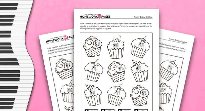 Cupcake Note Reading Coloring
