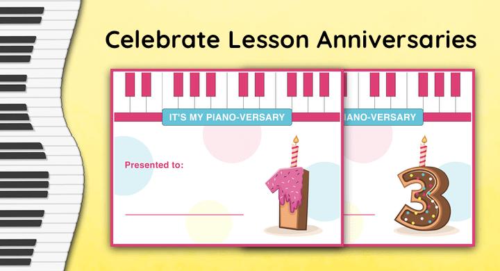 Piano Lesson Anniversary Certificates