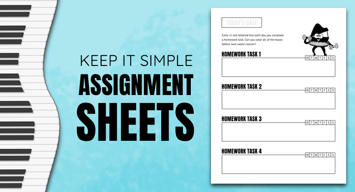 Simple Piano Lesson Assignment Sheets